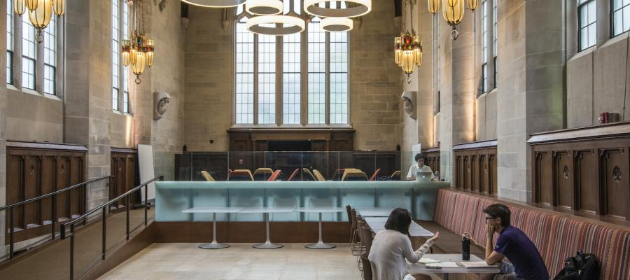 students studying inside a University of Chicago building