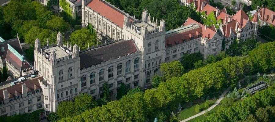 Aerial view of Harper Memorial Library